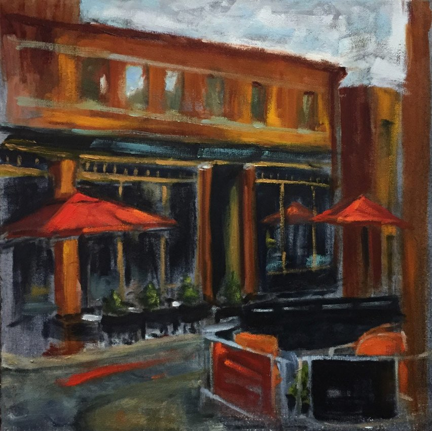 Cafe With Red Umbrellas